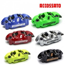 "2x Etriers ACCOSSATO Monobloc Forgé - ""Color"" 4 pistons 34mm - 108mm"
