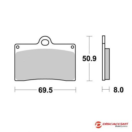 Plaquette de frein DISCACCIATI pour étrier 40mm/82mm/Custom/Triumph axial/radial 4 pistons - MÉTAL FRITTÉ