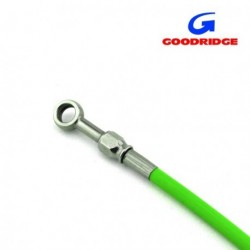 "Brake Line 55cm ( 21,65"" ) GREEN - Fittings INOX"